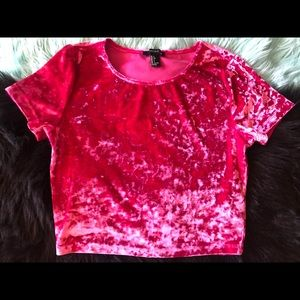 Crushed Velvet Magenta Crop Top